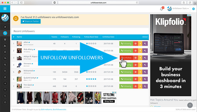 Unfollower Stats :: Track and unfollow your unfollowers!